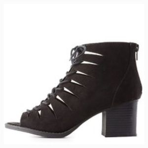 LACE UP LAZER CUT OPEN TOE BOOTIES